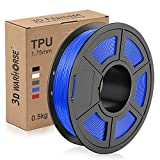 TPU Filament 1.75mm Flexible, 3D Printer Filament Dimensional Accuracy +/- 0.03 mm, 0.5 Kg Spool, Blue