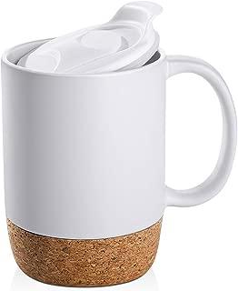 DOWAN 15 oz Coffee Mug Sets, Set of 2 Large Ceramic Mugs, with Insulated Cork and Splash Proof Mug Lid, Matte White