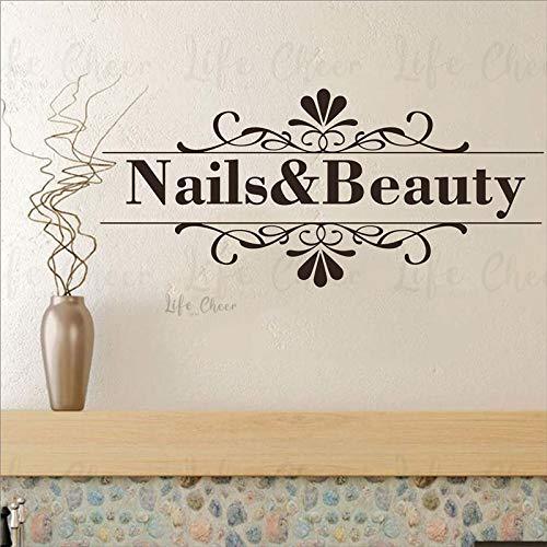 mlpnko Nail Artiste Ongles et beauté Logo Amovible Sticker Mural Peinture à Ongles Design Salon de beauté Sticker Mural,CJX14195-86x39cm