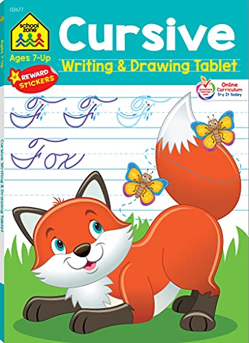 School Zone - Cursive Writing & Drawing Tablet Workbook - 96 Pages, Ages 7+, Skip-A-Line Ruled Writing Paper, Practice Handwriting, Letters, Words, and More (Easy Tear-Out Workbook) (Writing Tablet)