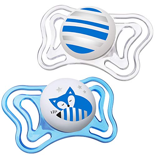 Chicco PhysioForma Light Day & Night including Glow In Dark Pacifier for Babies 6-16 Months, Blue, Orthodontic Nipple, BPA-Free, 2-count in Sterilizing Case