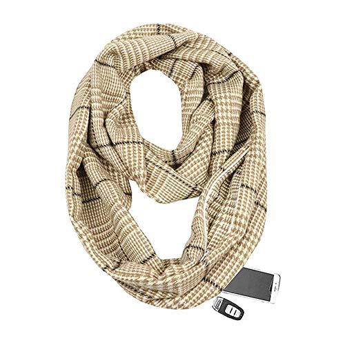 VIGCK winter breien geruite warme sjaal reizen oneindigheid sjaal met verborgen zak kasjmier sjaals vrouwelijke Foulard Pashmina Lady deken