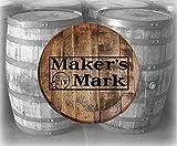 Rustic Home Bar Decor Makers Mark Bourbon Whiskey Stamp Barrel Lid Wood Wall Art