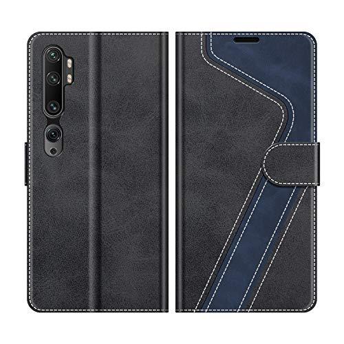 MOBESV Handyhülle für Xiaomi Mi Note 10 Hülle Leder, Xiaomi Mi Note 10 Pro Klapphülle Handytasche Hülle für Xiaomi Mi Note 10 / Mi Note 10 Pro Handy Hüllen, Modisch Schwarz