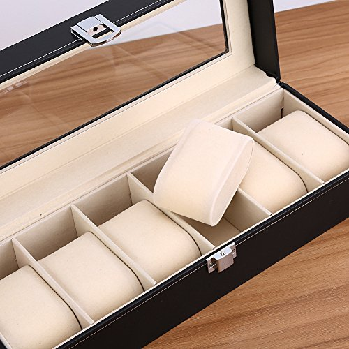 6 Bit Faux Leather Watch Storage Box Display Box Single Layer Lockable Soft Cushion Inside Can Be Moved, Size: Approx. 43 x 29 x 8.5 cm