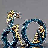 Poliresina Estatua 2 Unids/Set Nordic Violin Girl Art Sculpture Retro Character Violin Figurine Resin Crafts Home Decoration-B_As_Shown