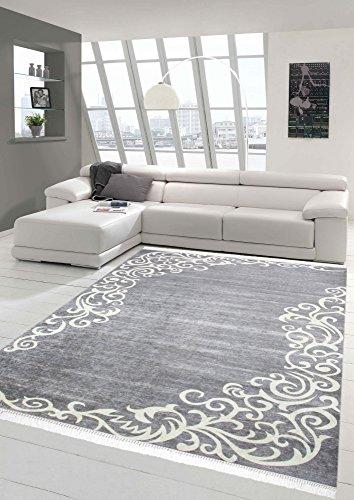 Merinos Teppich Floral Designerteppich Wohnzimmerteppich waschbar in Grau Creme Größe 140x200 cm Oval