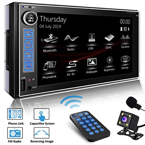 SJoyBring JOY-9086 Double Din HD Capacitive Touch AM/FM Car Stereo - 10 Band EQ, PhoneLink - Bluetooth, USB, MicroSD with Backup Camera