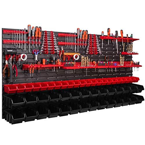 Werkzeugwand 1728 x 780 mm Stapelboxen Werkzeughalter Wandplatte Halterungsschienen Garage Lager Werkstatt Hobby (50 Boxen rot/schwarz)