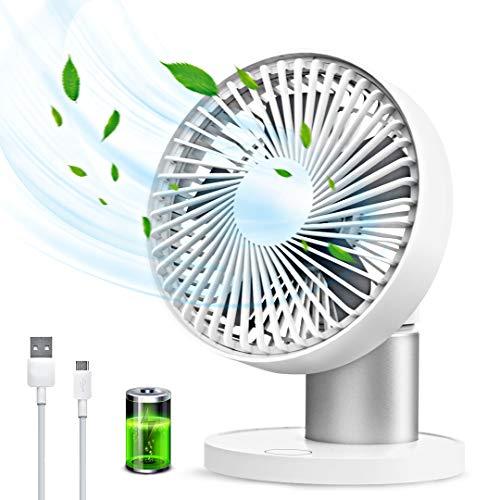 Ventilador USB Silencioso, Ventilador de Sobremesa con 3 Velocidades Ajustables, Ventilador de Mesa Portátil Rotación Automática de 90 °, Ventilador de Escritorio para Hogar, Viajes, Oficina, Acampar