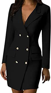 KYLEON Women's Long Sleeve Double Breasted Button Suit Dress Bodycon Pencil Sheath Midi Dress Casual Work Office Party Dress