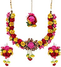 YouBella Jewellery Set for Women Floret Gota Patti Necklace, Earrings & Maang Tika for Women & Girls (Mehandi/Haldi)