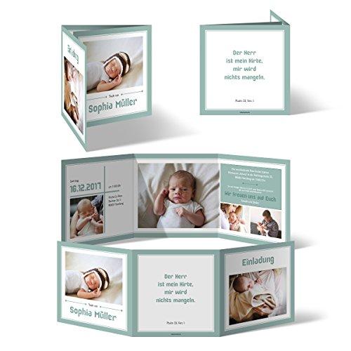 Taufeinladungen (20 Stück) - Bildreich im Wickelfalz - Taufkarten Taufe Einladungskarten