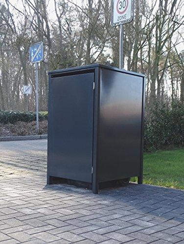 Srm-Design 1 Mülltonnenbox ohne Stanzung für 120 Liter Mülltonnen/komplett Anthrazit RAL 7016 / witterungsbeständig durch Pulverbeschichtung/mit Klappdeckel und Fronttür