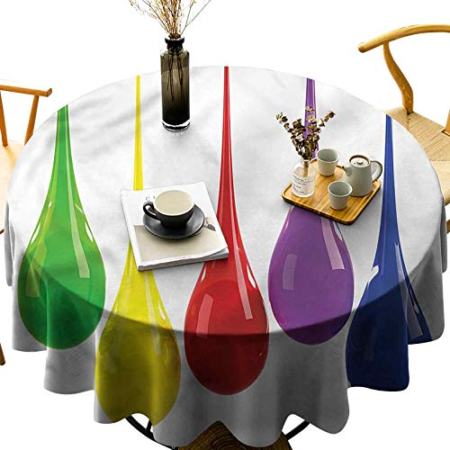 Highly Durable Round Table Cloth Sturdy Water Resistance Vivid Drops Paint Splash Diameter 60 inch for Outdoor Picnic, Indoor Kitchen and Holiday Dinner