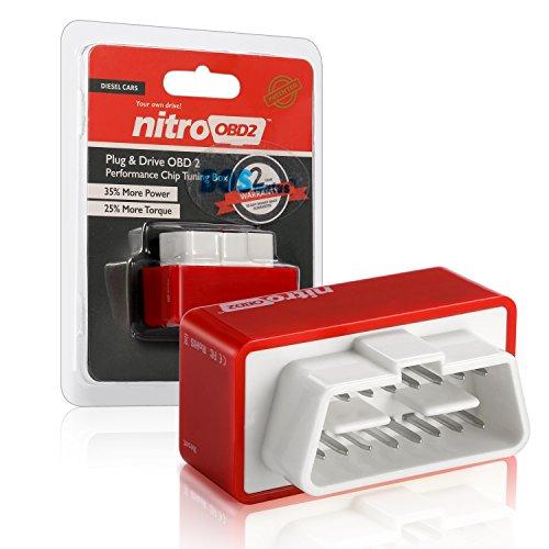 Nitro OBD2 Diesel Performance Chip Tuning Box, Plug and Drive OBDII, Plus de Puissance, Plus de Couple. (Rouge)