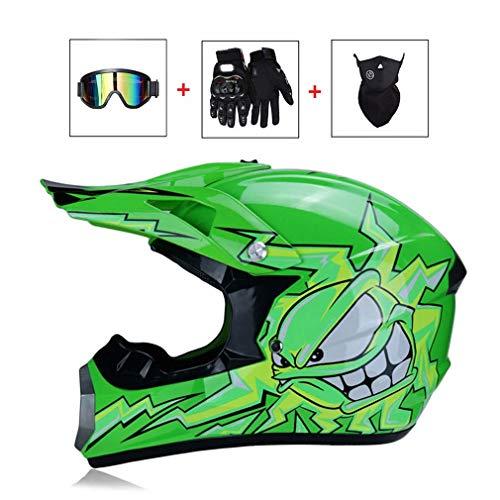LEENP Adult Motocrosshelm Herren Crosshelm Monster Muster Motorradhelm Set mit Brille/Maske/Handschuhe, Motorrad Sport ATV MTB Quad Motorräder Off-Road Enduro Downhill-Helm für Männer Damen,Green,XL