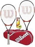 Wilson Blade Feel XL 106 Lot de 2 raquettes de tennis avec sac Wilson Advantage et 3 balles de tennis ouvertes américaines