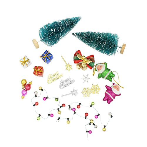 Escala 1/12 Árbol y Accesorio Decorativo de Navidad en Miniatura de Casa de Muñecas