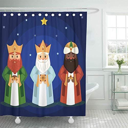 N\A Dekorativer Duschvorhang Alt von den DREI Weisen Balthasar Bethlehem Wasserdichter, schimmelresistenter Badezimmer-Duschvorhang mit Haken