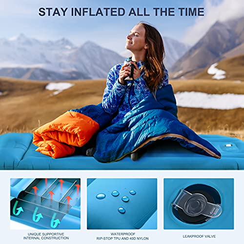 alwix Sleeping Pad for Camping, Comfortable 5.5in Self-Inflating Sleeping Pad / Built-in Air Pillow & Pump for Hiking & Traveling, Quick Inflation & Deflation - Lightweight & Waterproof - 1 Pack