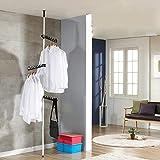 Sinbide Garderobenständer Kleiderständer Standgarderobe Garderobe stabilKleiderwagenJackenständer 2.75-3.2m Höhenverstellbar ideal für