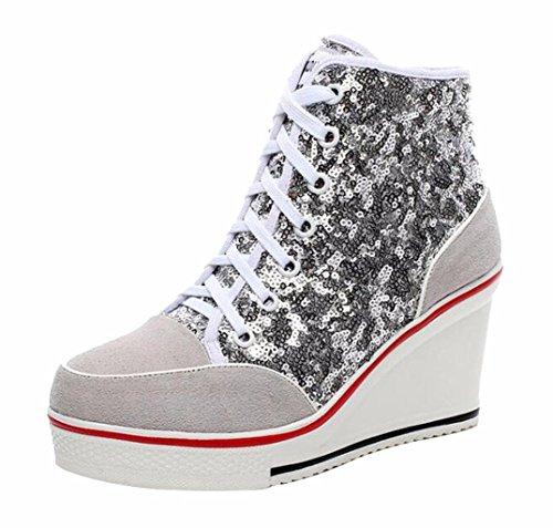 Jiu du Women's Sequins Sneakers Wedge Suede Platform Heels Pump Lace Up High Top Shoes Silver Sequin Size US8 EU40