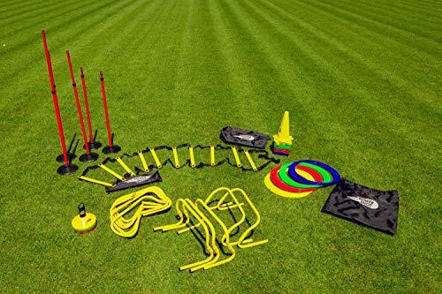 POWERSHOT Kit d'entrainement Pro -Il Comprend coupelles, cerceaux Plats, Mini-Haies et Plus ! - Idéal pour l'entrainement de Tous Les Types du Sport
