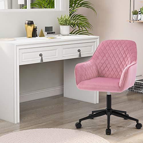 Flieks Bürostuhl / Drehstuhl, ergonomisch, Samt, Chefsessel, verstellbar, Computerstuhl mit Armlehnen und Rückenstütze, Empfangsstuhl, Akzentsessel, 1 Stück, rosa Samt