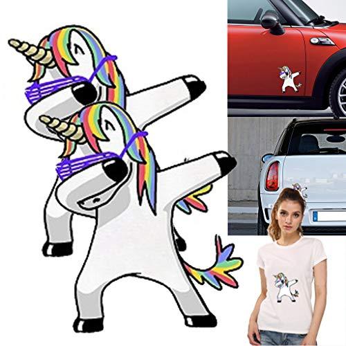 DreamJing 2 Pack Auto Aufkleber Einhor Reflektierende wasserdichte Sonnencreme Tattoo für Auto,Windows,Laptop,Boote 11.5 x 13cm