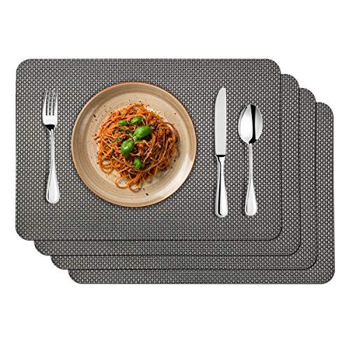 MORROLS Manteles Individuales Juego de 4 PVC Antideslizante Lavables Resistentes al Calor para Cocina, Hogar, Restaurante, Mesa de Comedor Fácil de Limpiar y Impermeable (Gris )