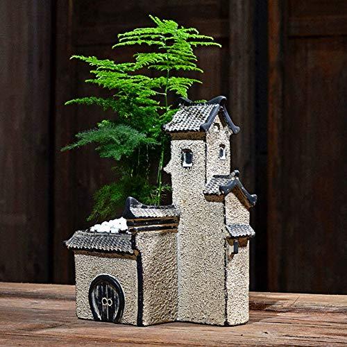 RPLW Chino Zen Casa Maceta Estatua,Micro Paisaje Estatua Decorativa,Interior Al Aire Libre Escultura De Jardín,Macetas Decoración del Hogar Ornamentos-A 19x14x8cm