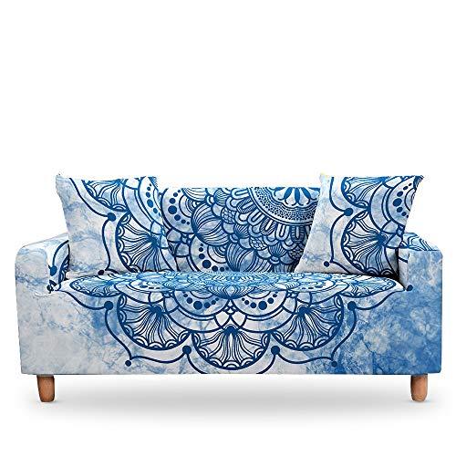 RFEGEF FundaDeSofáElástica,Funda De Sofá Súper Elástica con Estampado Floral Mandala Azul, Fundas De Microfibra Lavables Blancas para Sofá para Sillón De Dos Plazas, Protector De Muebles De Sa