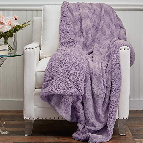 The Connecticut Home Company Soft Faux Fur with Sherpa Bed Throw Blanket, Many Colors, Fluffy Large Luxury Reversible Blankets, Fuzzy Washable Throws for Couch, Beds, Home Bedroom Decor, 65x50, Purple