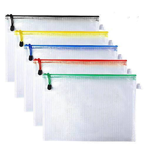 Kuuqa A4 Plastic Zip Wallets Folders Mesh Bolsas de documentos para la organización del papel de almacenamiento de archivos, Set de 5
