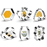 Bee Cookie Cutters Set 6 Piece,The Pooh Molds Cutters for Honey Bee Party,Beehive,Biscuits,Sandwiches Fondant Decoration,Honeycomb and Honey Jar Stainless Steel Cookie Cutters Molds