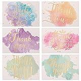 Yumi V 60Piezas Tarjeta de Agradecimiento Nota de Tarjeta de Felicitación de Acuarela de Lámina de Oro para Bodas Despedidas de Soltera Navidad Negocios