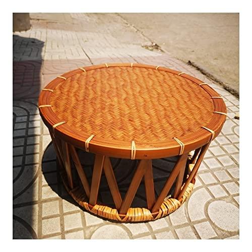 GOUDAN Taburete Tejido de bambú Lacado Grande,Mesa de Ventanas de la bahía,Mesa Multifuncional de Doble propósito,Puede Beber té o Sentarse