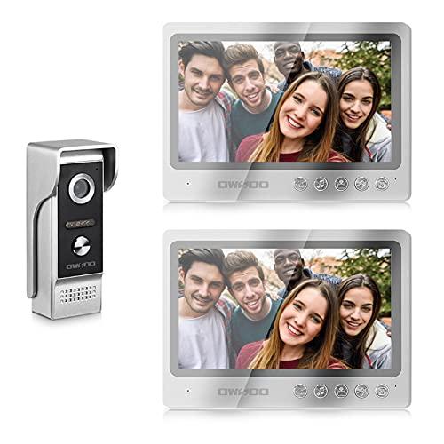 OWSOO 9 '' Videoportero con Pantalla Táctil TFT LCD a Color, 1 * Cámara + 2 * Monitor, Volumen/Brillo/Contraste Ajustables, Intercomunicador, Desbloqueo,Conversación Visual, Monitoreo en Tiempo Real.