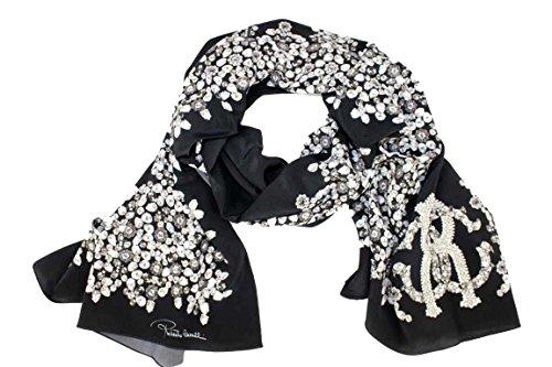 Roberto Cavalli Damen Schal Scarf im Geschenkbox Made in Italy 2b690 schwarz