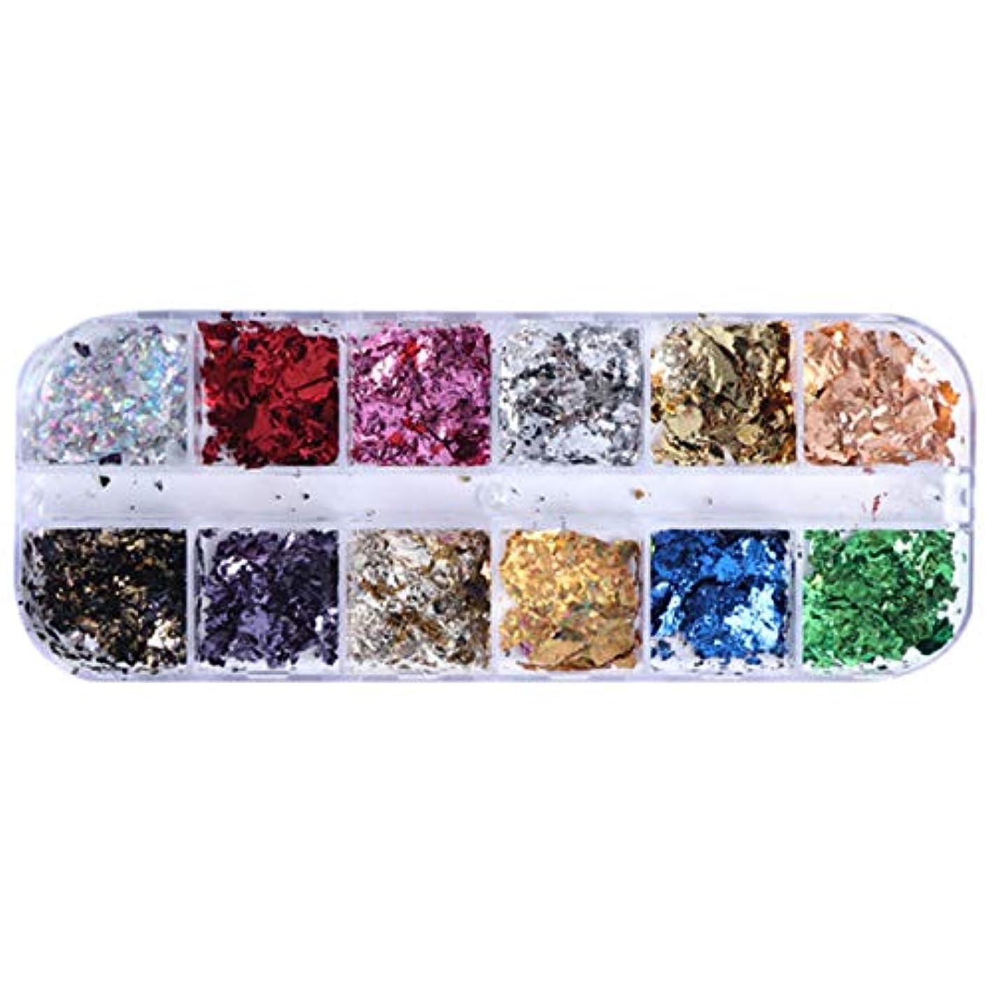 学習画家報いるTOOGOO 12グリッドネイルスパンコールスパンコールアルミニウム不規則フレーク 金銀顔料ネイルアートデコレーション ミラーグリッター箔紙CBY