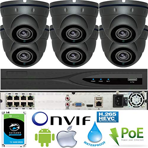 Lowest Price! Urban Security Group 5MP 6 Camera PoE System : (1) Ultra 4K H.265 8 Channel NVR + (6) ...