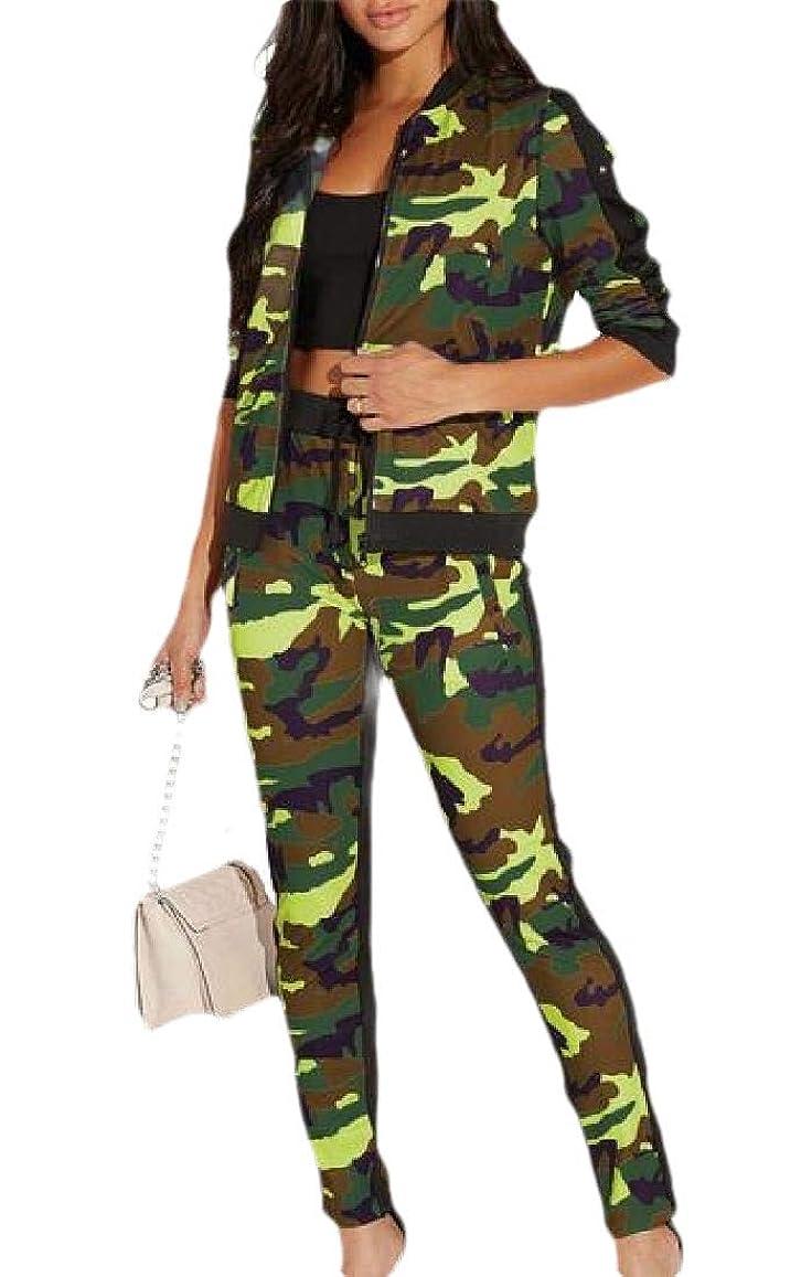 対角線正確さアイドルWomen's 2 Piece Outfits Tracksuits Camo Long Sleeve Jacket and Pants Suit