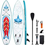 GOODONE Inflatable Stand Up Paddle Board, Shark Pattern Racing Type SUP with Premium Accessories Including Carry Bag, Non-Slip Deck, Paddle, Hand Pump, Bottom Fin and Leash 10'6'x31.5'x6' (Shark)