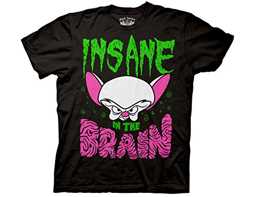Ripple Junction Animaniacs Adult Unisex Insane in The Brain Light Weight 100% Cotton Crew T-Shirt MD Black