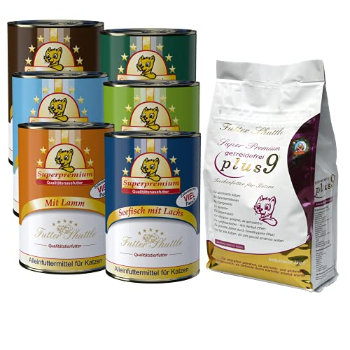 Angebot Katzenfutter. Getreidefreies Katzen Trockenfutter Plus 9- und 6 x 400g Dosen feinstes Nassfutter als Sparpaket der Extraklasse.