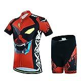 LSERVER-Niños Maillot de Bicicleta Ropa de Ciclo Camiseta/Pantalones/Conjunto, Ojo Demonio(Conjunto), XXL