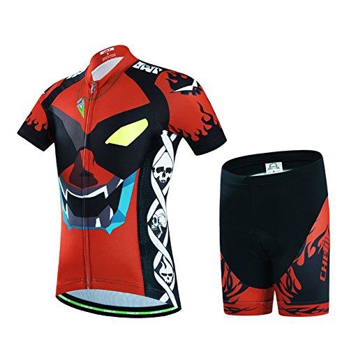 LPATTERN Maillots de Ciclismo Jersey de Manga Corta + Culotte Pantalones para Niños Traje Conjunto de Bicicleta para Deportes al Aire Libre, Rojo/Negro, 2XL /10-11 años