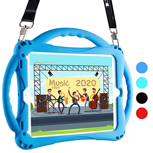TopEsct iPad 9.7 Kids Case Shockproof Handle Stand ipad Toddler case with Pencil Holder, Compatible with iPad 5th Gen,iPad 6th Gen and iPad Air 1/2 and Pro 9.7, Comes with Adjustable Strap (Blue)