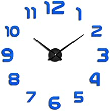 Asteria-Ashley New Clock Watch DIY Wall Clocks Acrylic Mirror Home Decoration Living Room Quartz Needle,Blue,37Inch